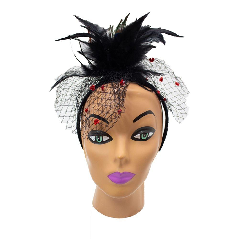 Picture of Black Flower Veil Headband