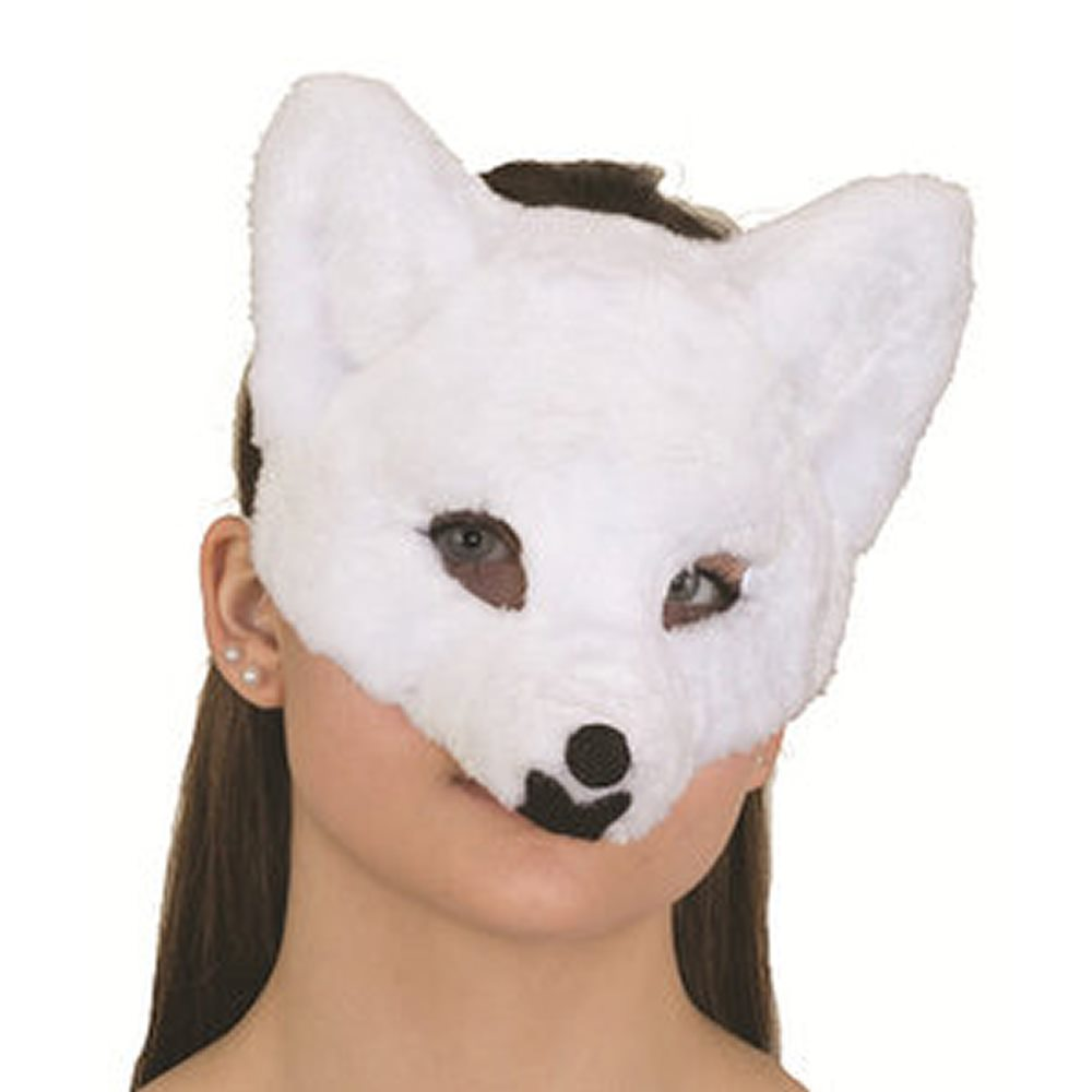 Picture of White Furry Wolf Half Mask