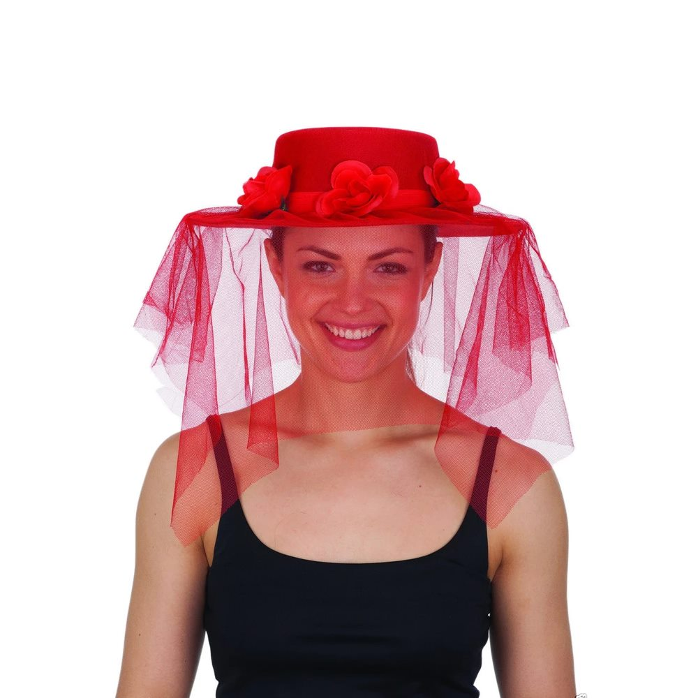 Picture of Red Spanish Hat with Veil & Flowers